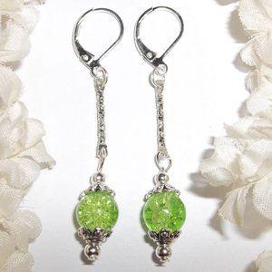 Long Earring Set Green Beaded Handmade NWT 5192
